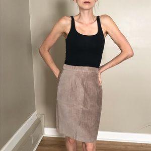 Vintage Forenza Tan Leather Pencil Mini Skirt